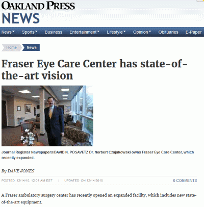 Fraser Eye Care in Oakland Press 121410